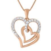ForeverMine® 1/10 CT. T.W. Diamond 14K Rose Gold/Sterling Silver Heart Pendant