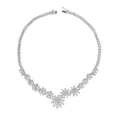 CZ by KENNETH JAY LANE Cubic Zirconia Flower Necklace