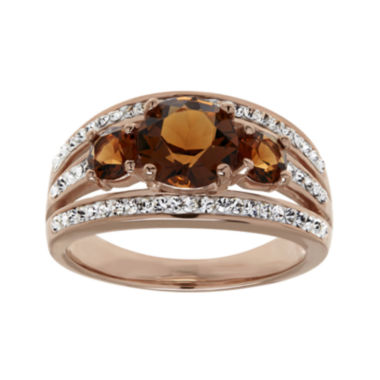 jcpenney.com | Brown and White Crystal 18K Rose Gold Over Silver 3-Stone Ring