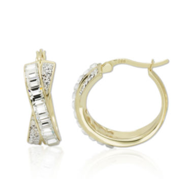 jcpenney.com | Crystal 14K Gold Over Silver 21.67mm Crossover Hoop Earrings