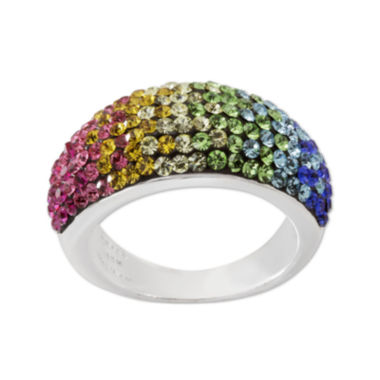 jcpenney.com | Rainbow Crystal Sterling Silver Domed Ring