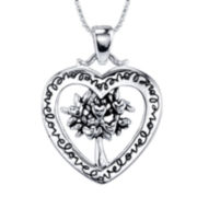 Inspired Moments™ Sterling Silver My Family, My Love Cutout Heart Pendant Necklace