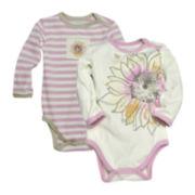 Burt's Bees Baby™ 2pk. Sunflower Bodysuits - Baby Girls 3m-12m