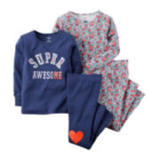 Carter's® 4-pc. Super Awesome Pajama Set - Preschool Girls 4-7