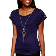 by&by Short-Sleeve Ruched Lace-Shoulder Necklace Top