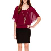 Flutter-Sleeve Banded-Bottom Necklace Top or Millennium Skirt
