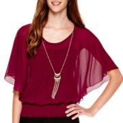 by&by Flutter-Sleeve Banded-Bottom Necklace Top