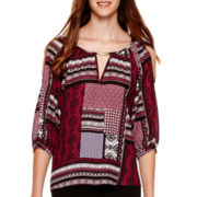 by&by 3/4-Sleeve Cold-Shoulder Print Top