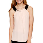 by&by Sleeveless Pleated-Neck Necklace-Trim Top