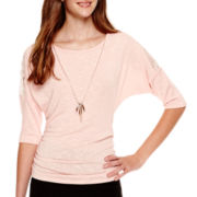 by&by 3/4-Sleeve Side-Shirred Necklace Top