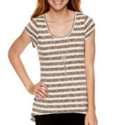 by&by Short-Sleeve Striped Sharkbite Necklace Top