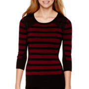 by&by 3/4-Sleeve Striped Lace-Shoulder Sweater