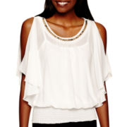 by&by Flutter-Sleeve Cold-Shoulder Top