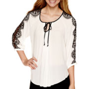 by&by 3/4-Sleeve Lace-Trim Circle-Hem Peasant Blouse