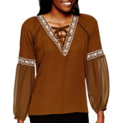XOXO® Long-Sleeve Embroidered Peasant Blouse