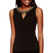 XOXO® Sleeveless Beaded Keyhole Top