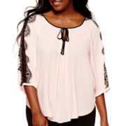 by&by 3/4-Sleeve Lace-Trim Circle-Hem Peasant Blouse - Plus