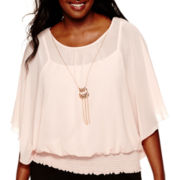 by&by Flutter-Sleeve Banded-Bottom Necklace Top - Plus
