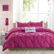 Mi Zone Sophia Polka Dot Ruched Comforter Set