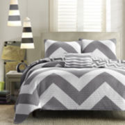 Mi Zone Gemini Chevron Reversible Coverlet Set