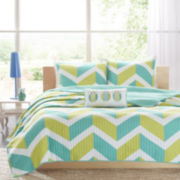 Mi Zone Holly Chevron Coverlet Set