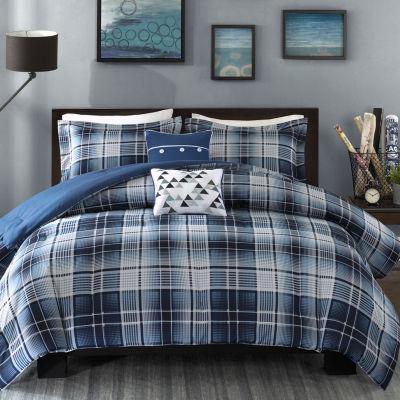 intelligent design dexter plaid comforter set