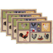Park B. Smith® Rooster and Chickens Set of 4 Placemats