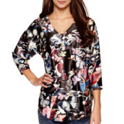 i jeans by Buffalo 3/4-Sleeve Print Satin Top