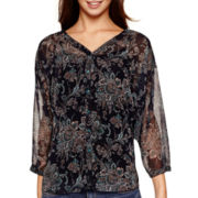 i jeans by Buffalo 3/4-Sleeve Crochet-Back Print Top