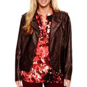a.n.a® Asymmetrical Faux-Leather Moto Jacket - Plus