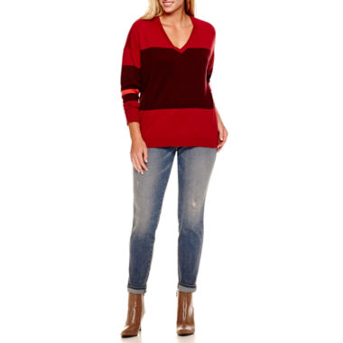 jcpenney.com | a.n.a® Fine-Gauge V-Neck Sweater or Jeggings - Plus