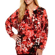 a.n.a® Long-Sleeve Embellished Blouse - Plus