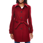 Liz Claiborne® Hooded Wool-Blend Coat