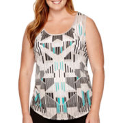 Worthington® Printed Burnout Tank Top - Plus