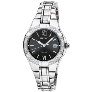 jcpenney.com | Seiko® Womens Silver-Tone Diamond-Accent Solar Watch SUT067