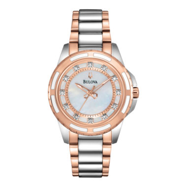 jcpenney.com | Bulova® Womens Two-Tone Mother-of-Pearl Diamond-Accent Watch 98P134