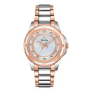 Bulova Womens Two-Tone Mother-of-Pearl Diamond-Accent Watch