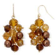 Gold-Tone & Brown Bead Grapevine Earrings