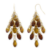 Brown Faceted Glass Chandelier Earrings