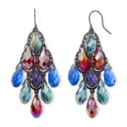 Multicolor Faceted Glass Chandelier Earrings
