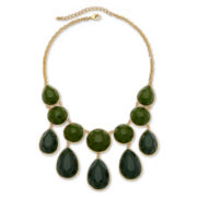Olive Green Round & Teardrop Bubble Necklace