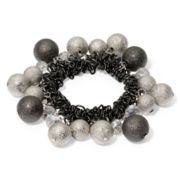 Mixed Metal & Crystal Bubble Stretch Bracelet