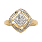 ¼ CT. T.W. Diamond 10K Yellow Gold Cluster Ring