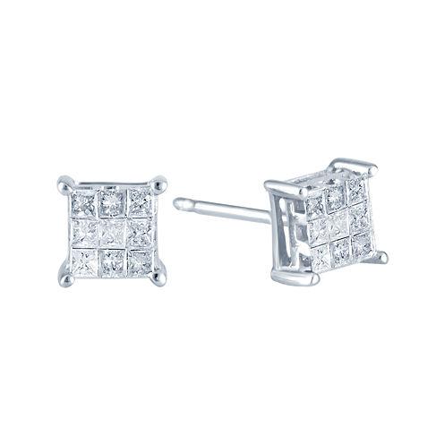 ¼ CT. T.W. Princess Diamond Stud Earrings