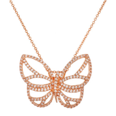 jcpenney.com | 18K Rose Gold Over Brass Cubic Zirconia Butterfly Pendant Necklace