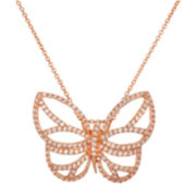 18K Rose Gold Over Brass Cubic Zirconia Butterfly Pendant Necklace