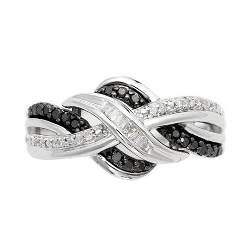 ¼ CT. T.W. White & Color-Enhanced Black Diamond Weave Ring