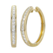 1/2 CT. T.W. Diamond 14K Gold Over Sterling Silver Hoop Earrings