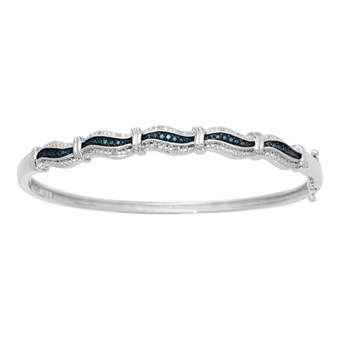 White & Color-Enhanced Blue Diamond-Accent Wave Bangle