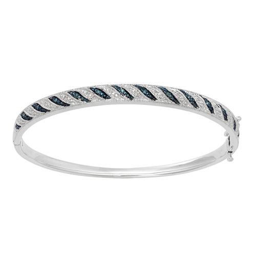 White & Color-Enhanced Blue Diamond-Accent Striped Bangle